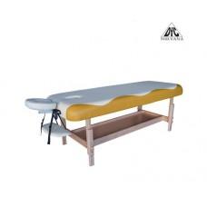 Массажный стационарный стол DFC NIRVANA, SUPERIOR, дерев. ножки, 1 секция, цвет беж.с желт.