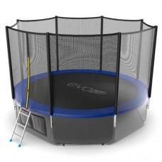 Распродажа - EVO JUMP External 12ft (Blue) + Lower net. Батут с внешней сеткой и лестницей, диаметр 12ft (синий) + нижняя сеть
