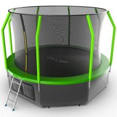 Распродажа - EVO JUMP Cosmo 12ft (Green) + Lower net. Батут с внутренней сеткой и лестницей, диаметр 12ft (зеленый) + нижняя сеть